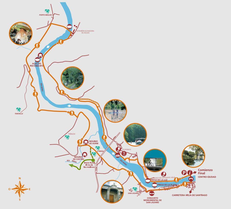 Plano de la ruta por la vera del Miño en Lugo.